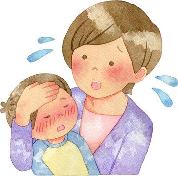 子どもの発熱を心配する女性
