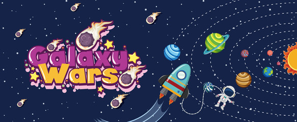 Poster design with spaceship and many planets in solar system Fotomurales
