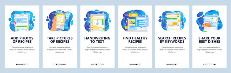 Healthy food recipes online. Upload food photo and share on social media. Cookbook and meal recipe on a phone. Mobile app screens. Menu vector for website development. Web site design illustration