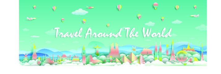 Wall Mural - Travel with landmarks top of the world famous monuments countries for France, England,Spain, Italy, Egypt, America, Europe and Asia with paper cut and  gradient style for travel poster and postcard.