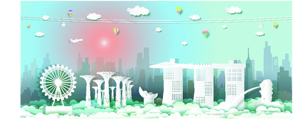 Wall Mural - Travel singapore architecture culture at the marina bay sands in singapore with the iconic modern building merlion, Traveling with cable car, balloon and airplane, Paper cut style, Vector illustration