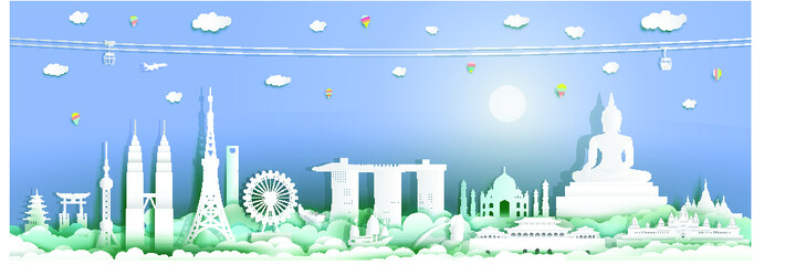Wall Mural - Traveling with cabel car, balloon and airplane, Landmarks of asean with full moon at blue background, Travel around the world to Asia with origami paper cut style for travel poster and postcard.