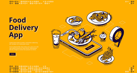 Food delivery app isometric landing page. Mobile online service for order meals, smartphone with plate on screen and gps pinpoint on application map, 3d vector illustration, line art, web banner Wall mural