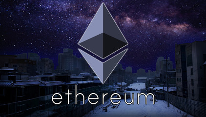 Ethereum over night city background with stars