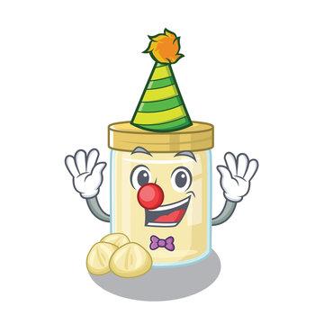 Funny Clown macadamia nut butter cartoon character mascot design