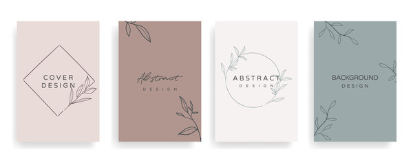 Fotobehang - Social media stories and Main Feed cover.  Background template with copy space for text and images, Tropical line arts , floral and leaves in warm earth tone vector illustration.