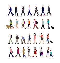 Fototapeta Walking person (male, female, business person) sihouette illustration collection (side view) obraz