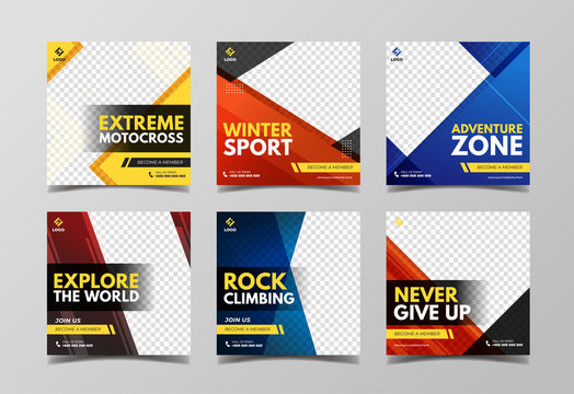 Extreme sport social media banner template collection