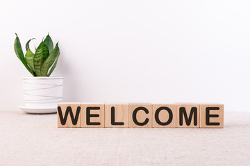 WELCOME word with building blocks on a light background and a green flower