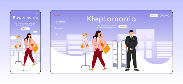 Kleptomania adaptive landing page flat color vector template. Store theft. Addictive behavior mobile and PC homepage layout. Shoplifting one page website UI. Webpage cross platform design