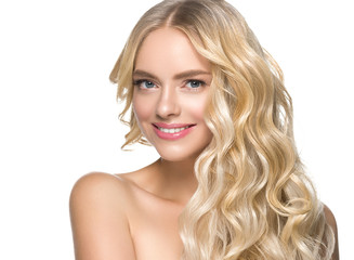 Curly hair woman healthy teeth smile natural teeth beauty concept fashion make up female young model happy girl