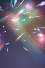 Wall Mural - Holographic falling confetti background. Rainbow iridescent overlay texture. Vector transparent foil hologram tinsel with bokeh light effect and glare glitter. .