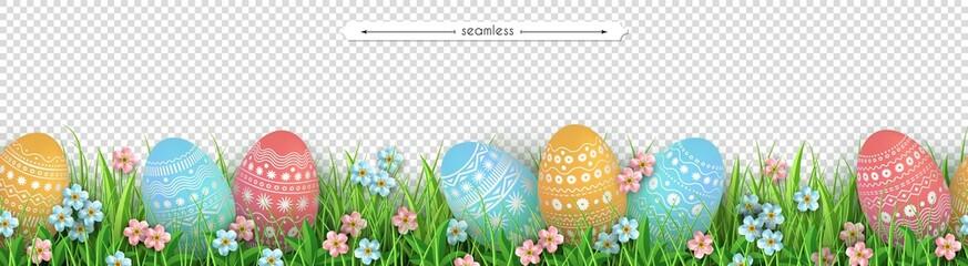 Easter eggs grass flowers seamless border Easter design Wall mural