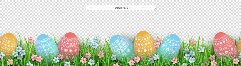 Easter eggs grass flowers seamless border Easter design
