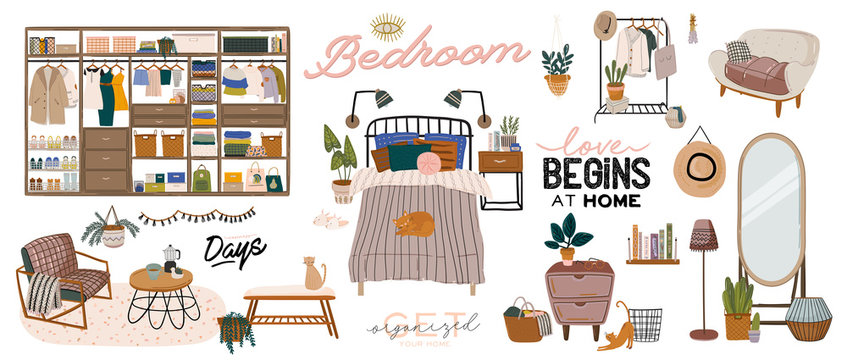 Stylish Scandinavian living room interior.  Female clothes in closet or wardrobe. Clothing organization and storage. Vector illustration