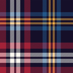Tartan plaid pattern vector. Seamless multicolored dark check plaid graphic in blue, red, yellow, and off white for flannel shirt, blanket, throw, upholstery, duvet cover, or other textile design.