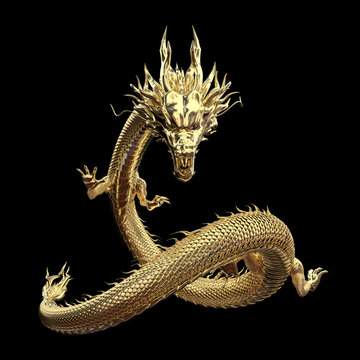 Full body gold dragon in smart pose with 3d rendering include alpha path.