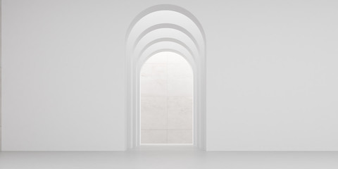 View of empty white room with arch design and concrete floor,Museum space, Chapel entrance, Perspective of minimal architecture. 3D render. Fotomurales