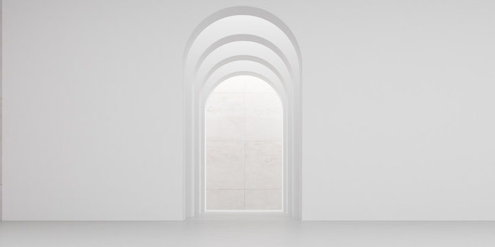 View of empty white room with arch design and concrete floor,Museum space, Chapel entrance, Perspective of minimal architecture. 3D render.