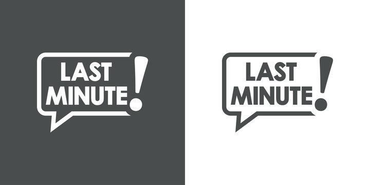 Logotipo con texto LAST MINUTE en burbuja de habla en fondo gris y fondo blanco