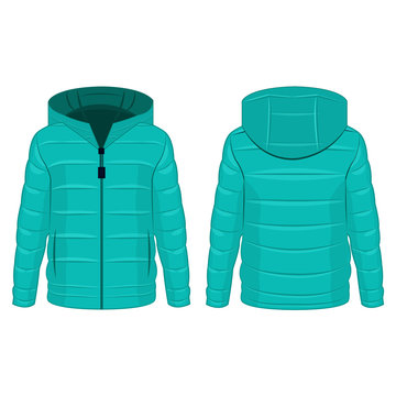 Turquoise winter down zipped jacket with hood isolated vector on the white background