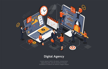 bonne agence digitale Digital Agency Concept. A Team of People Builds a Chart and Graphs. Digital Projects, Clients Brief. The Concept of the Idea of Marketing, Strategy, Data Analysis. Isometric Vector Illustration