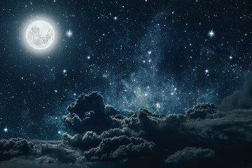 Foto auf Acrylglas Schwarz backgrounds night sky with stars and moon and clouds. Elements of this image furnished by NASA