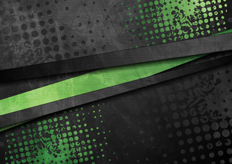 Fotobehang - Green and black contrast stripes corporate abstract background. Vector design