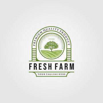 vintage fresh farm with tree logo designs