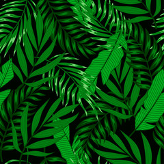 Summer tropical seamless pattern with bright plants and leaves on a dark background. Exotic wallpaper. Hawaiian style. Beautiful print with hand drawn exotic plants.