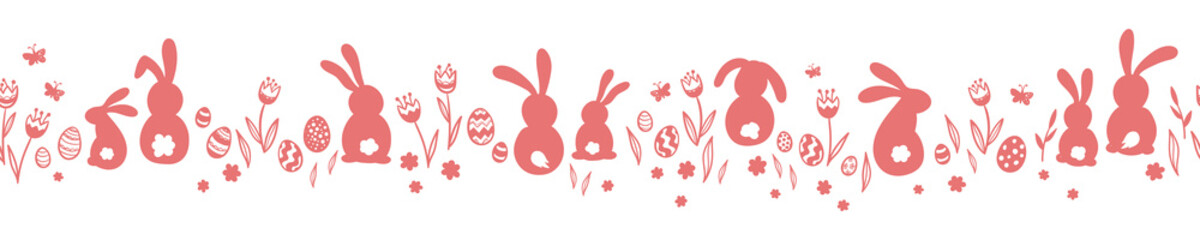 Tuinposter Kunstmatig Cute hand drawn horizontal seamless pattern with bunnies, easter eggs, flowers and butterflies, great for banners, wallpapers, websites, cards - vector design