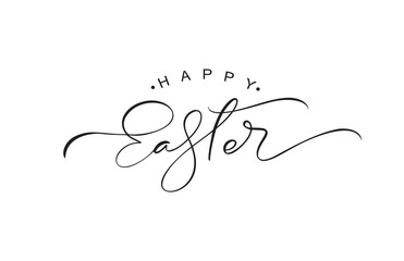 Happy Easter vintage vector calligraphy text. Hand drawn lettering poster for Easter. Modern Handwritten brush type isolated on white background