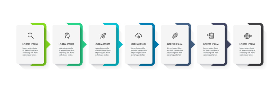 Vector Infographic design with icons and 7 options or steps. Infographics for business concept. Can be used for presentations banner, workflow layout, process diagram, flow chart, info graph