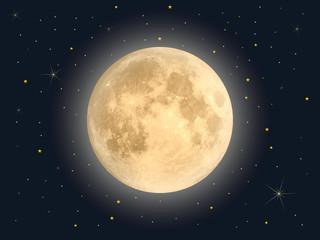 Full moon with star , Vector Fototapete