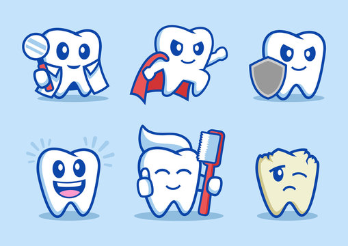 collection of dental Tooth cartoon character design