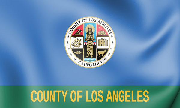 3D Flag of Los Angeles County (California), USA. 3D Illustration.