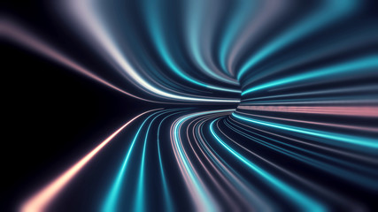 Wall Mural - 3D Rendering of abstract fast moving stripe lines with glowing sun light flare. High speed motion blur. Concept of leading in business, Hi tech products, warp speed wormhole science.
