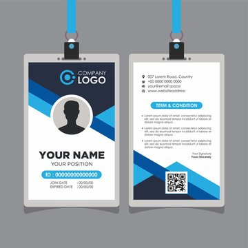 Abstract Geometric Blue Id Card Design, Professional Identity Card Template Vector for Employee and Others