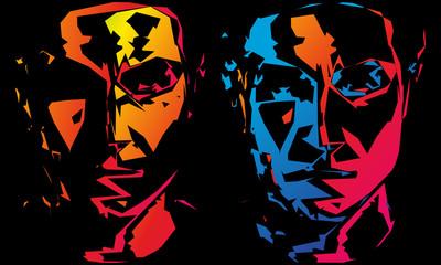 Fototapeta Podwójny portret mężczyzny. Ilustracja wektorowa. obraz