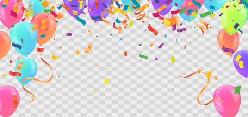 Abstract Background with Shining Colorful Balloons. Birthday, Party, Presentation