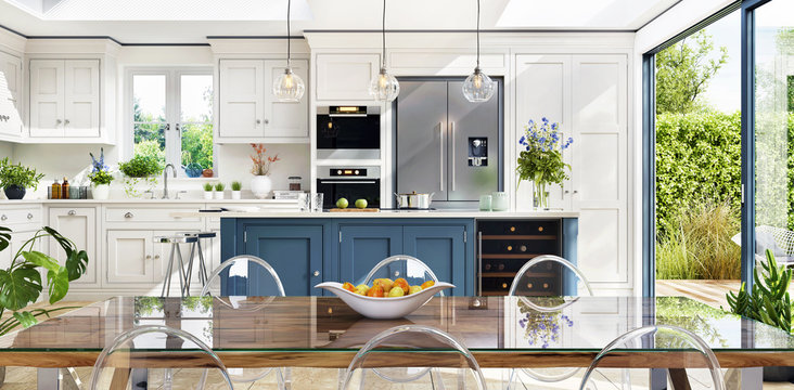 Open plan kitchen and diner to garden in modern terrace
