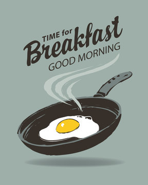 Vector menu or banner on the theme of Breakfast time. Illustration with hot fried egg on a frying pan in retro style. Morning banner or menu