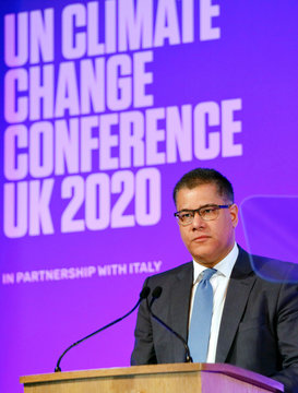 Britain's Business Secretary and Minister for COP26 Alok Sharma speaks during an event to launch the private finance agenda for the 2020 United Nations Climate Change Conference (COP26) at Guildhall in London