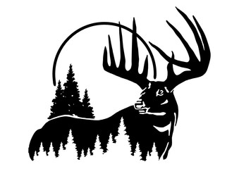 wild deer with big horns, black and white vector silhouette