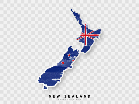New Zealand detailed map with flag of country. Painted in watercolor paint colors in the national flag.
