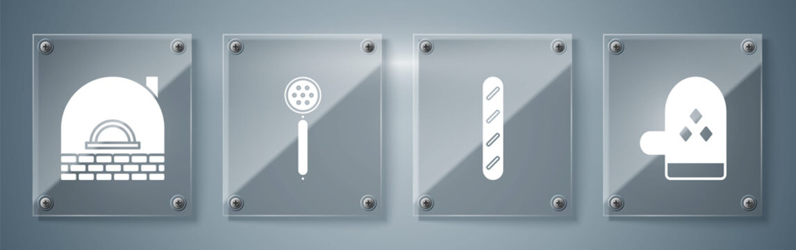 Set Oven glove , French baguette bread , Strainer spoon and Brick stove . Square glass panels. Vector