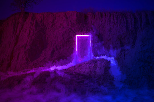 Strange fluorescent light layout with glowing neon frame,door and smoke on vibrant  background.Copy space for poster, banner, invitation,Fairy misterious,mystical Illustraion. Paranormal portal