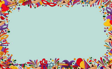 Happy Purim  background.  Purim  frame with traditional design Jewish Holiday elements, icons. Hamantaschen cookies, carnival mask, star of David,ratchet, oznei Haman, confetti. Purim party border.