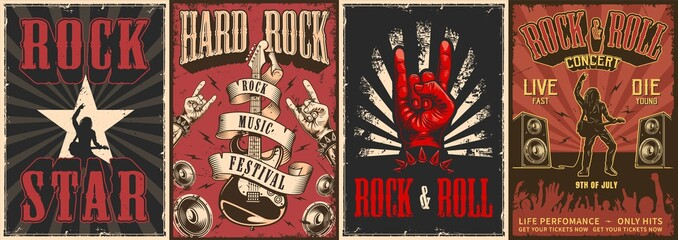 Rock and roll colorful posters Wall mural