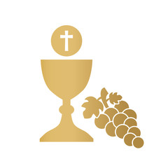 golden holy communion icon- vector illustration